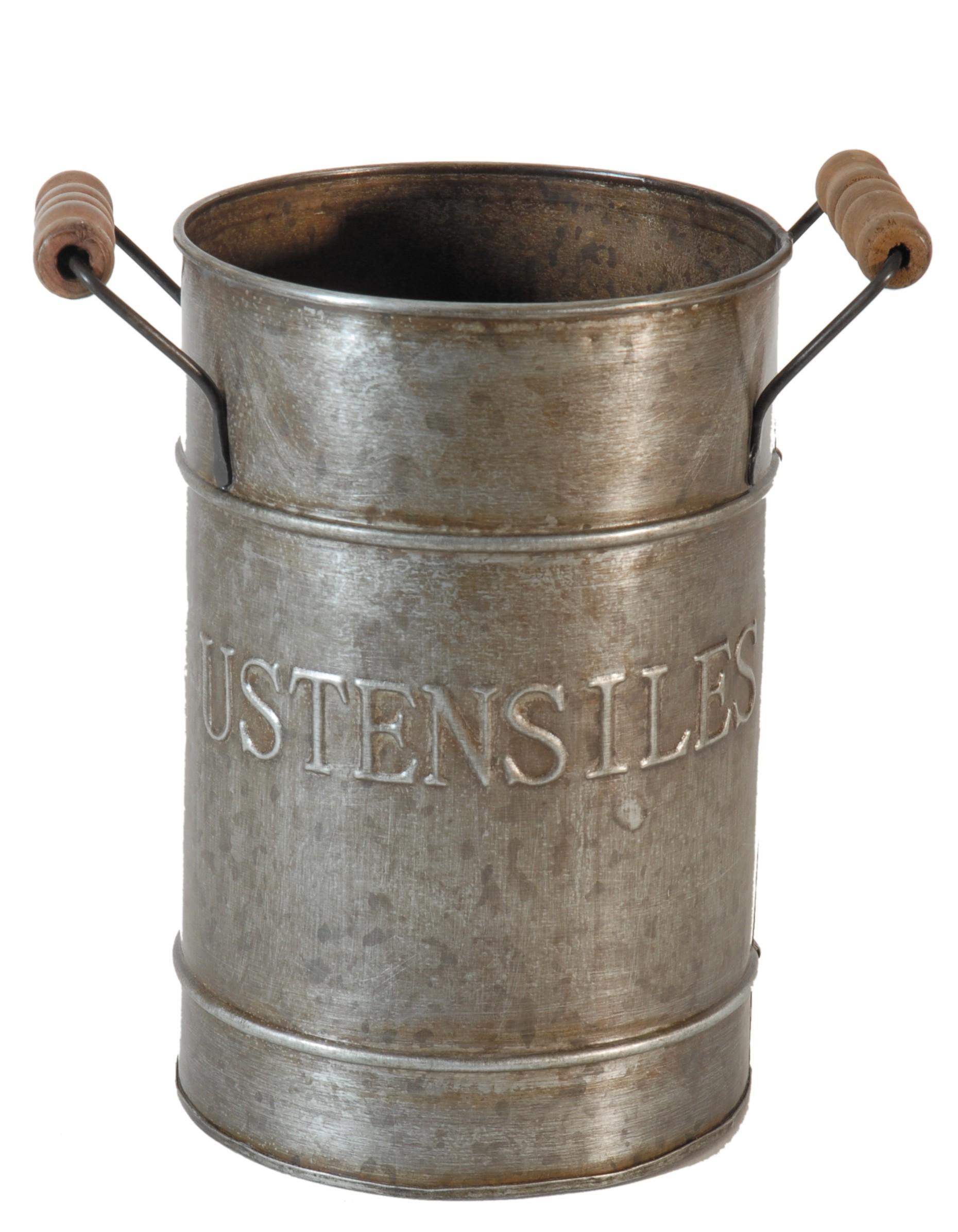 """Pot """"ustensiles"""" en zinc par antic line disponible sur decochic.fr"""