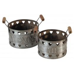 Set 2 pots oignons-ail en zinc