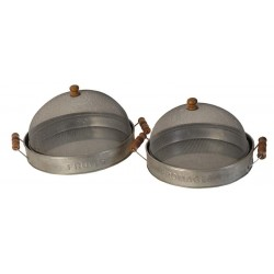 "Set de 2 cloches ""fromages-fruits"" couleur zinc"