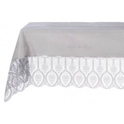 Vinyl lace tablecloth light grey 152x228 cm
