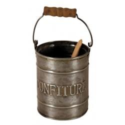 Pot à confiture couleur zinc avec cuillère bois