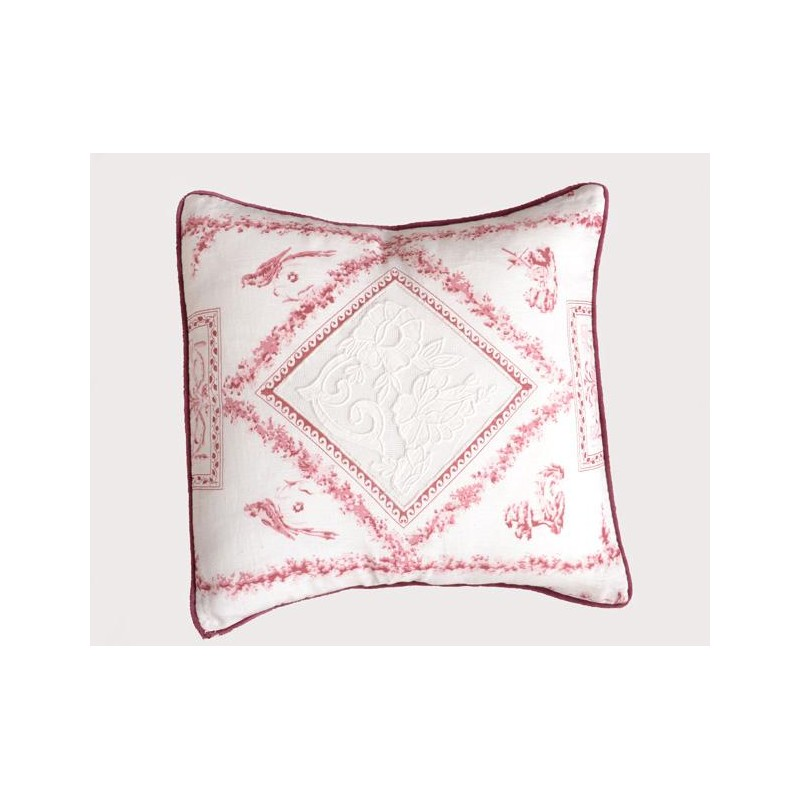 coussin fortuna rose et blanc 45x45 de chez coquecigrues. Black Bedroom Furniture Sets. Home Design Ideas