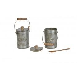 """Pot """"sucre"""" avec cuillère couleur zinc"""