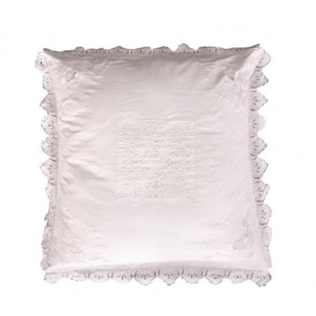 taie d'oreiller dentelière 60x60 cm de chez coquecigrues