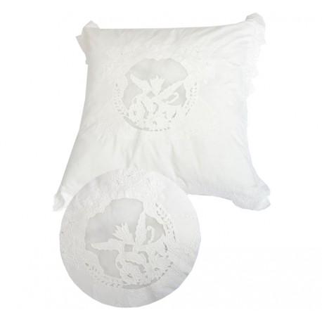 taie d 39 oreiller saint paterne ivoire 60x60 cm de chez coquecigrues. Black Bedroom Furniture Sets. Home Design Ideas