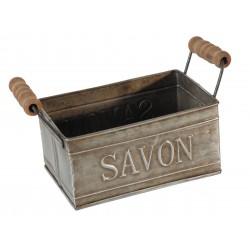 Porte savon en zinc avec poignées en bois