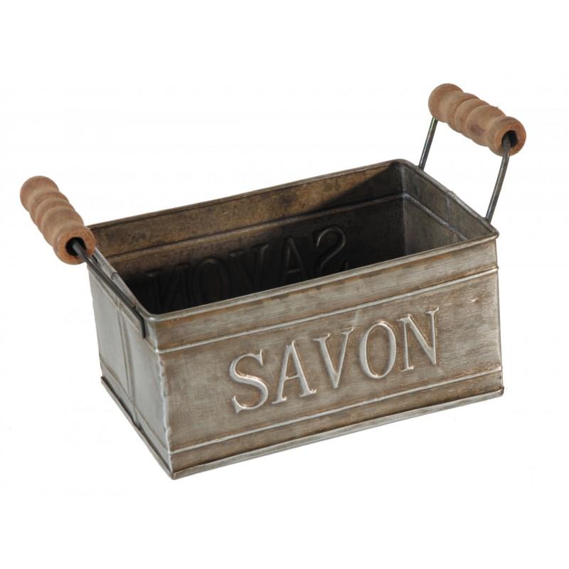 Porte savon en zinc avec poign es en bois par antic line for Decoration porte en bois