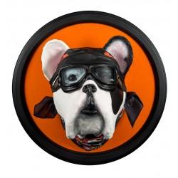 Bill le bulldog français motard, trophée décoratif à suspendre