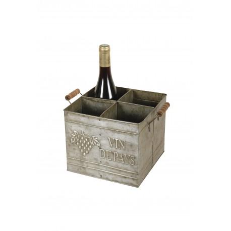 Cave à vin 4 bouteilles couleur zinc