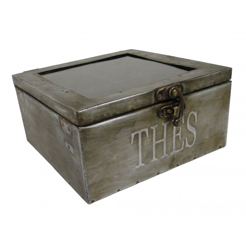 Zinc tea box signed antic line for Decoration zinc