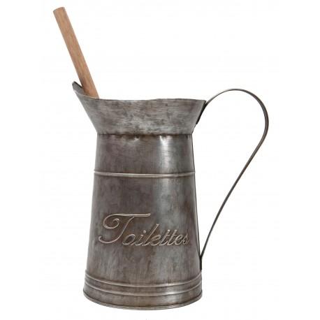 """Zinc pot with brush """"Toilettes"""""""