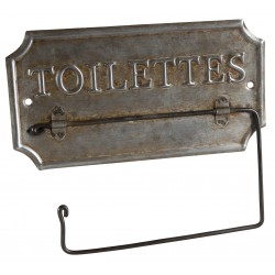 "Zinc toilet paper dispenser ""Toilettes"""