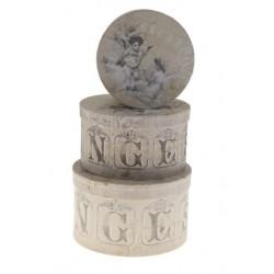 Set 3 boîtes rondes décor anges