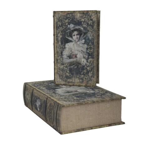 set 2 bo tes faux livres femme romantique par. Black Bedroom Furniture Sets. Home Design Ideas