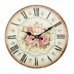 """Pendule bombée """"décor roses"""" de 34 cm"""