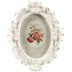 Cadre oval Denise blanc veilli M