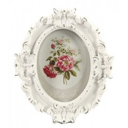 Oval photoframe Denise old white S
