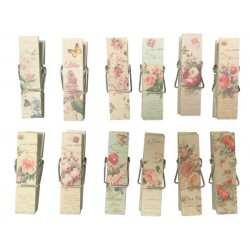 Set of 12 clothespins decorated flowers