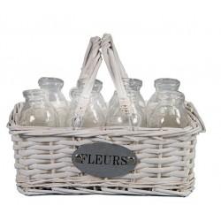 Panier vase décoratif à 8 petites bouteilles