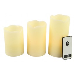 Set of 3 LED candle natural with remote control