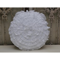 Pillow with flounces white ø 45 cm