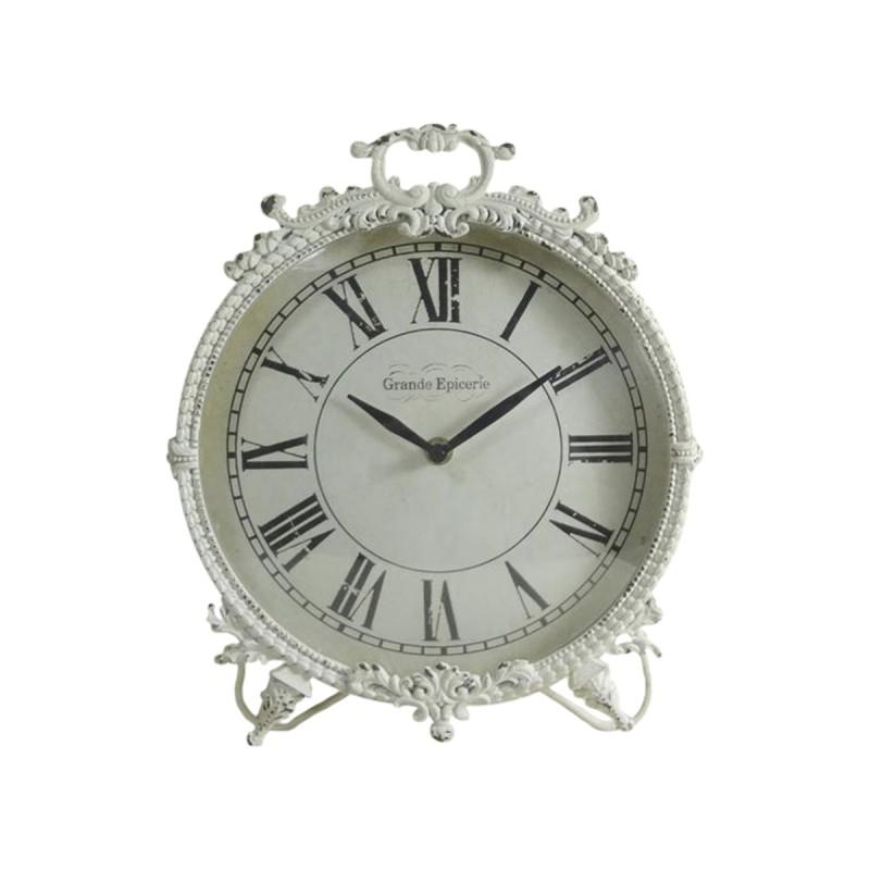 pendule poser blanc antique grande picerie par chic antique. Black Bedroom Furniture Sets. Home Design Ideas