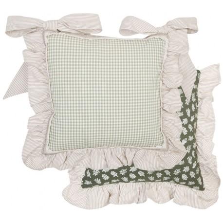 Housse de coussin de chaise carreaux verte volant for Housse de chaise largeur 50 cm
