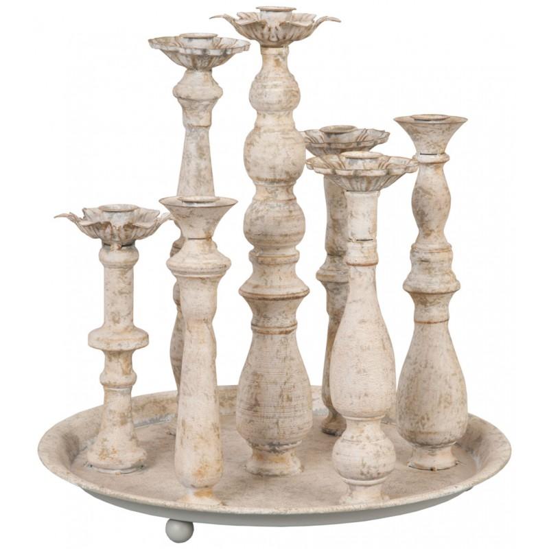 plateau chandelier rond pour 7 bougies blanc vieilli par. Black Bedroom Furniture Sets. Home Design Ideas