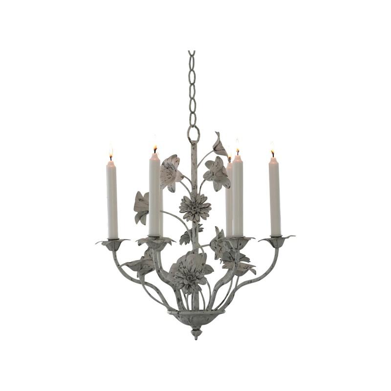lustre 6 branches pour bougies blanc antique en m tal par chic antique. Black Bedroom Furniture Sets. Home Design Ideas