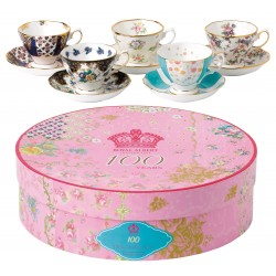 Coffret de 5 tasses et sous-tasses 100ème anniversaire Royal Albert 1900-1940
