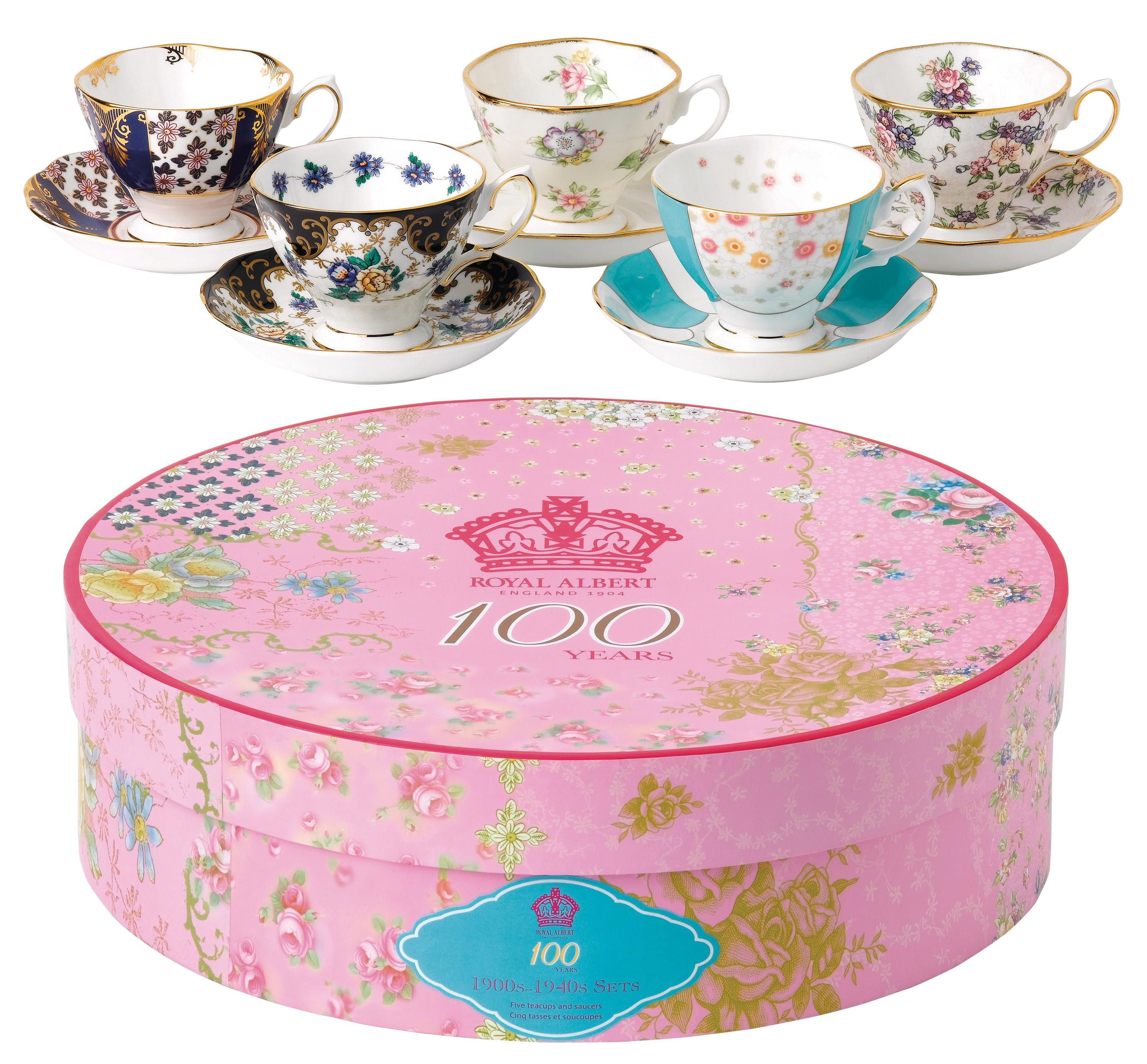 sc 1 st  DecoChic.fr & 5 Set Teacup u0026 Saucer 100 Years Collection Royal Albert 1900-1940
