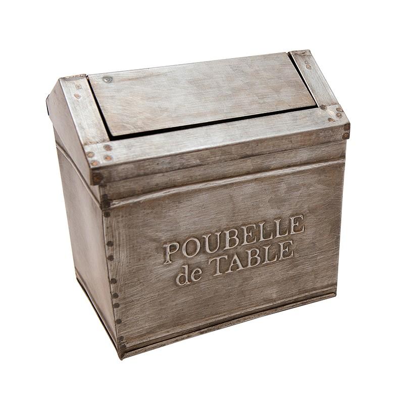 Zinc table trash poubelle de table by antic line for for Decoration zinc