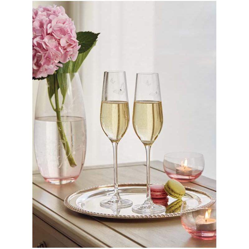 Set Of Champagne Flutes Miranda Kerr By Swarovski With Royal Albert