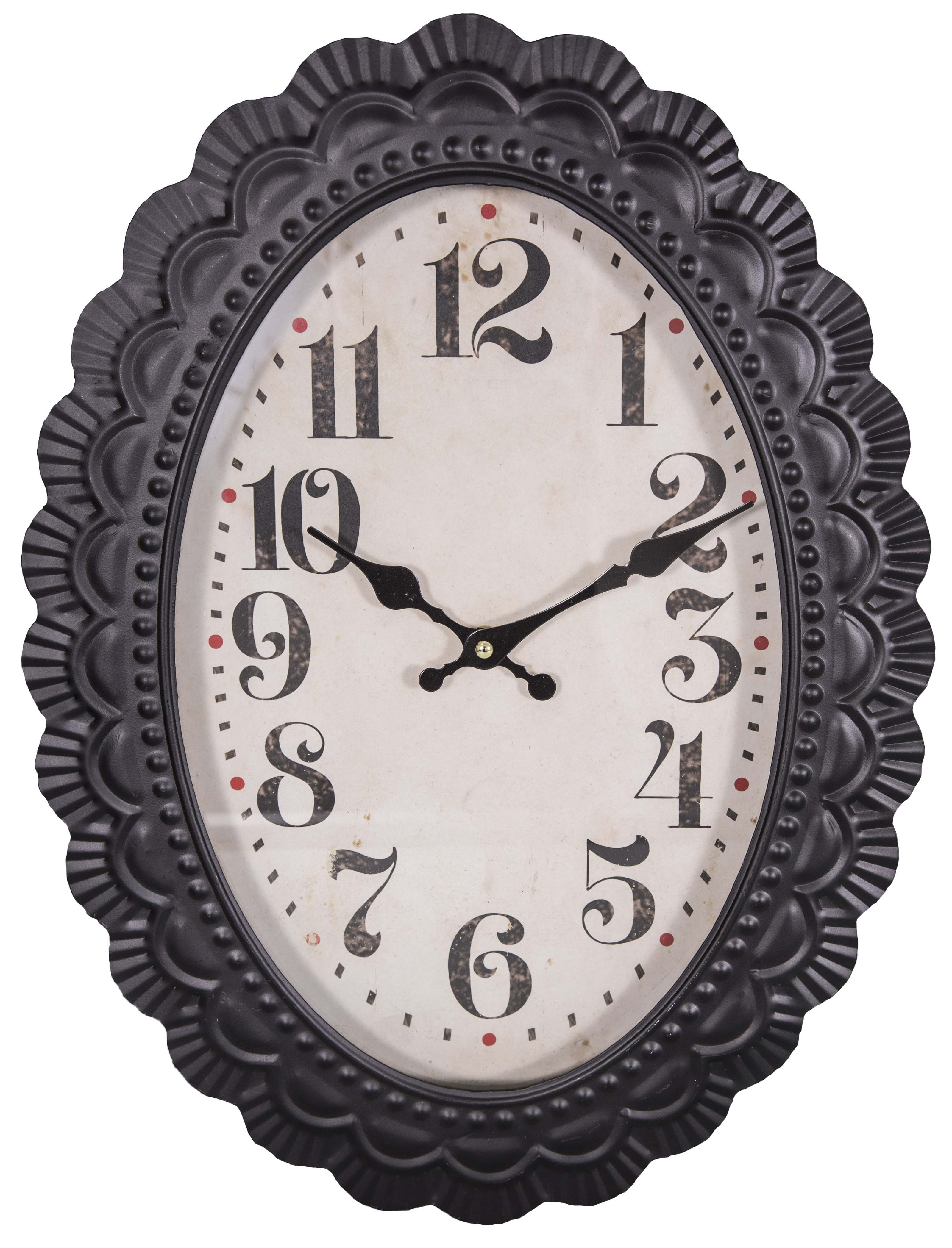 Oval wall clock old style by antic line ideal for a vintage decor