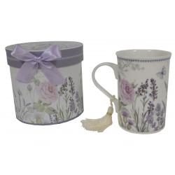 Coffret mug décor lavande et rose