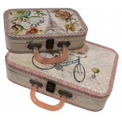 Set of 2 suitcases cycling decor