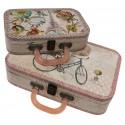 Set de 2 valises au décor de vélo