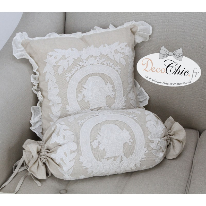coussin porcelaine en lin 45x45 de chez coquecigrues. Black Bedroom Furniture Sets. Home Design Ideas