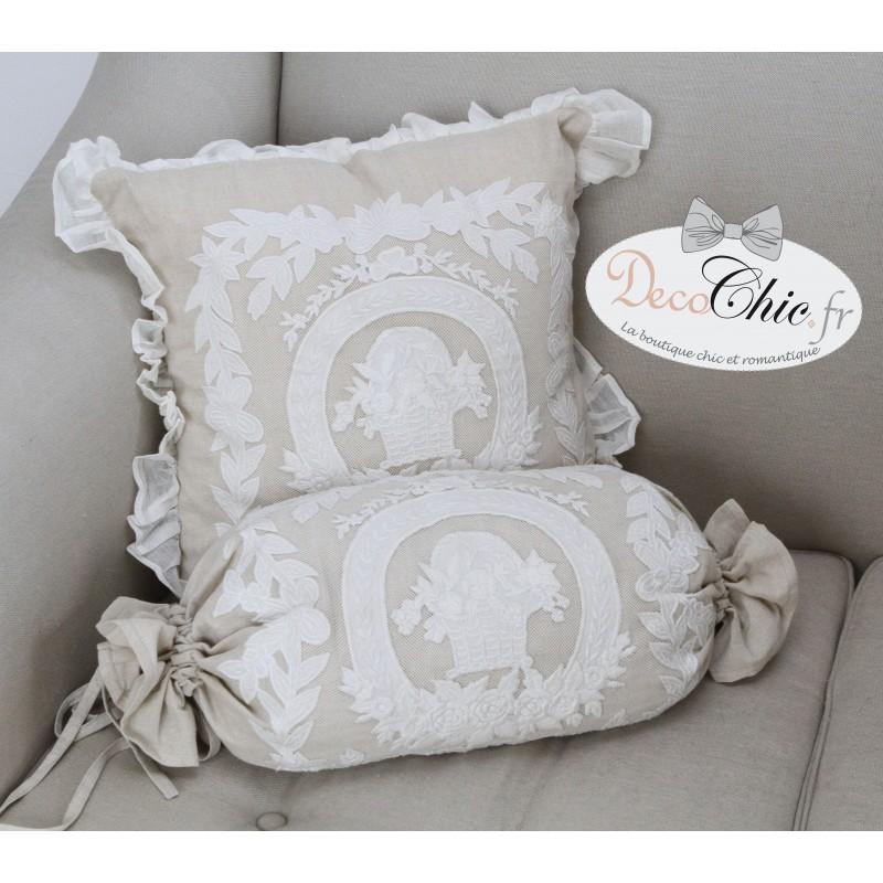 polochon porcelaine en lin 30x70 cm de chez coquecigrues id al pour une d co shabby. Black Bedroom Furniture Sets. Home Design Ideas