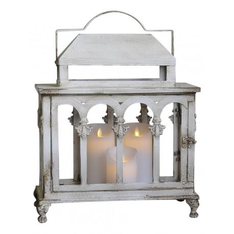 Lanterne blanc antique à fenêtres incurvées
