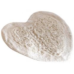 Tapis de bain cœur Rosetto naturel