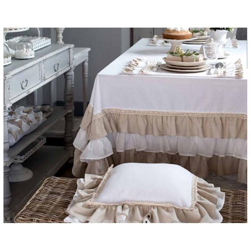 nappe fru fru par blanc mariclo id ale pour une d co shabby chic. Black Bedroom Furniture Sets. Home Design Ideas