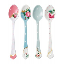 New Country Roses assorted vintage ceramic spoons, set of 4