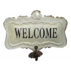 """French sign """"welcome"""" with candle holder"""