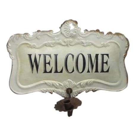 "French sign ""welcome"" with candle holder"