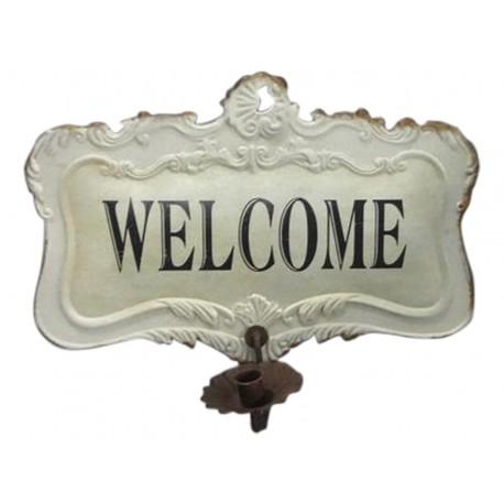 """Plaque """"welcome"""" avec porte bougie"""