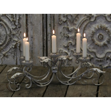 chandelier de table pour 5 bougies couleur cr me antique par chic antique. Black Bedroom Furniture Sets. Home Design Ideas