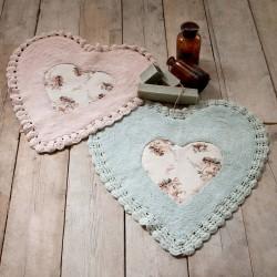 Duo de tapis coeur avec crochet Shabby vert et rose