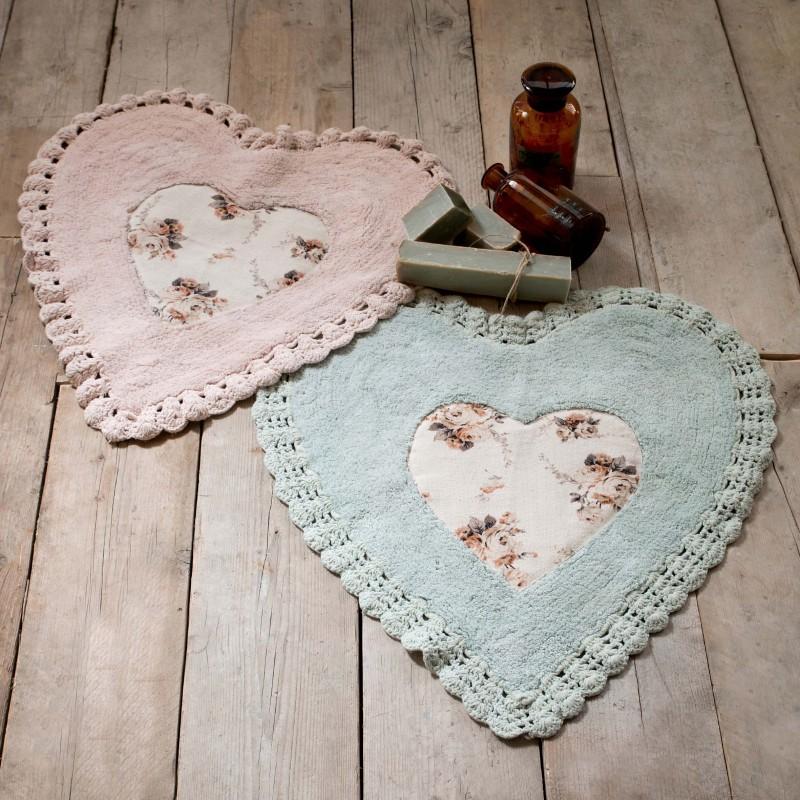 Duo de tapis coeur avec crochet shabby vert et rose par for Tapis shabby chic