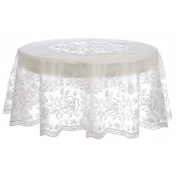 Vinyl lace round tabecloth Silver